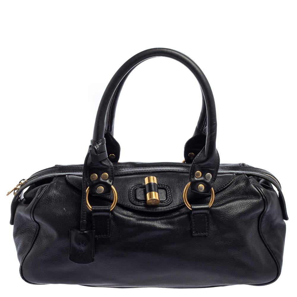 Yves Saint Laurent Black Leather Muse Bowler Bag