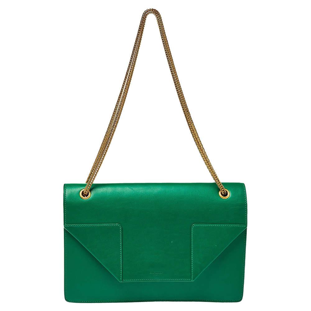 Saint Laurent Green Leather Betty Clutch