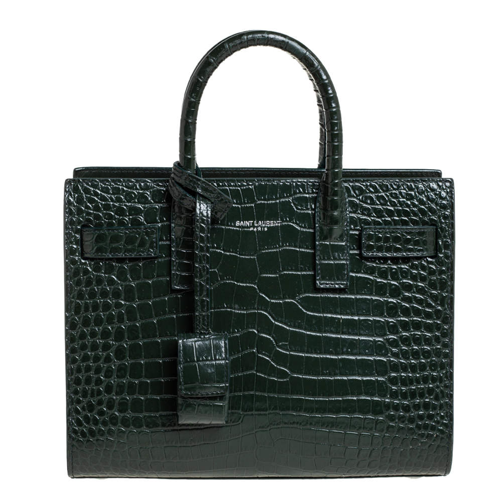 Saint Laurent Green Croc Embossed Leather Nano Classic Sac De Jour Tote