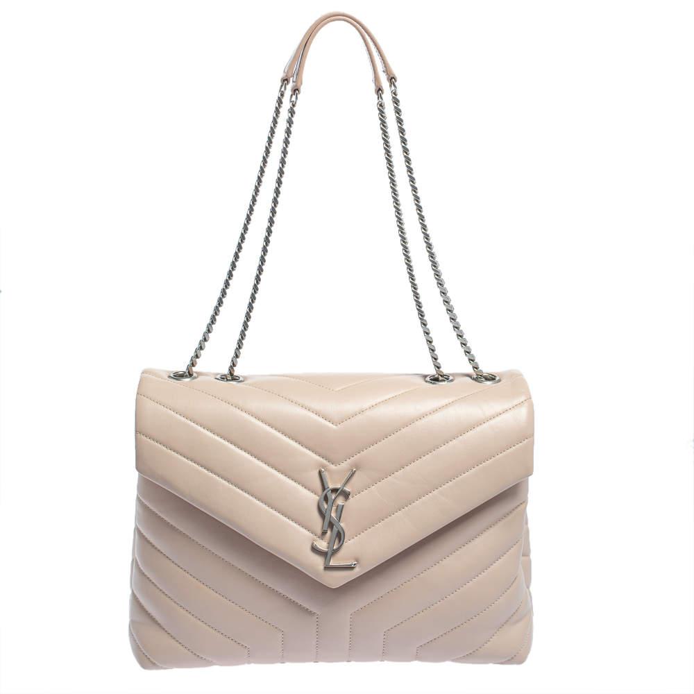 Saint Laurent Pink Matelasse Leather Medium Loulou Shoulder Bag