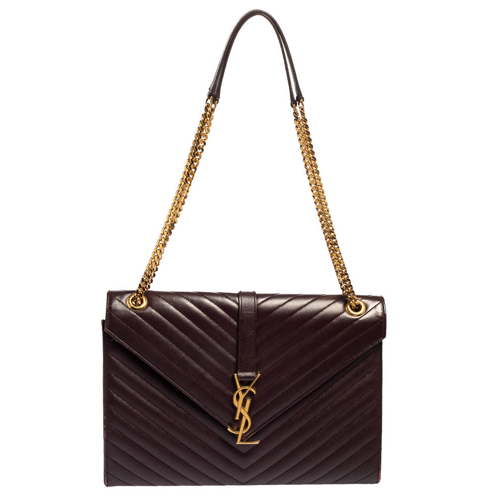 Saint Laurent Burgundy Chevron Quilted Leather Monogram Envelope Shoulder Bag