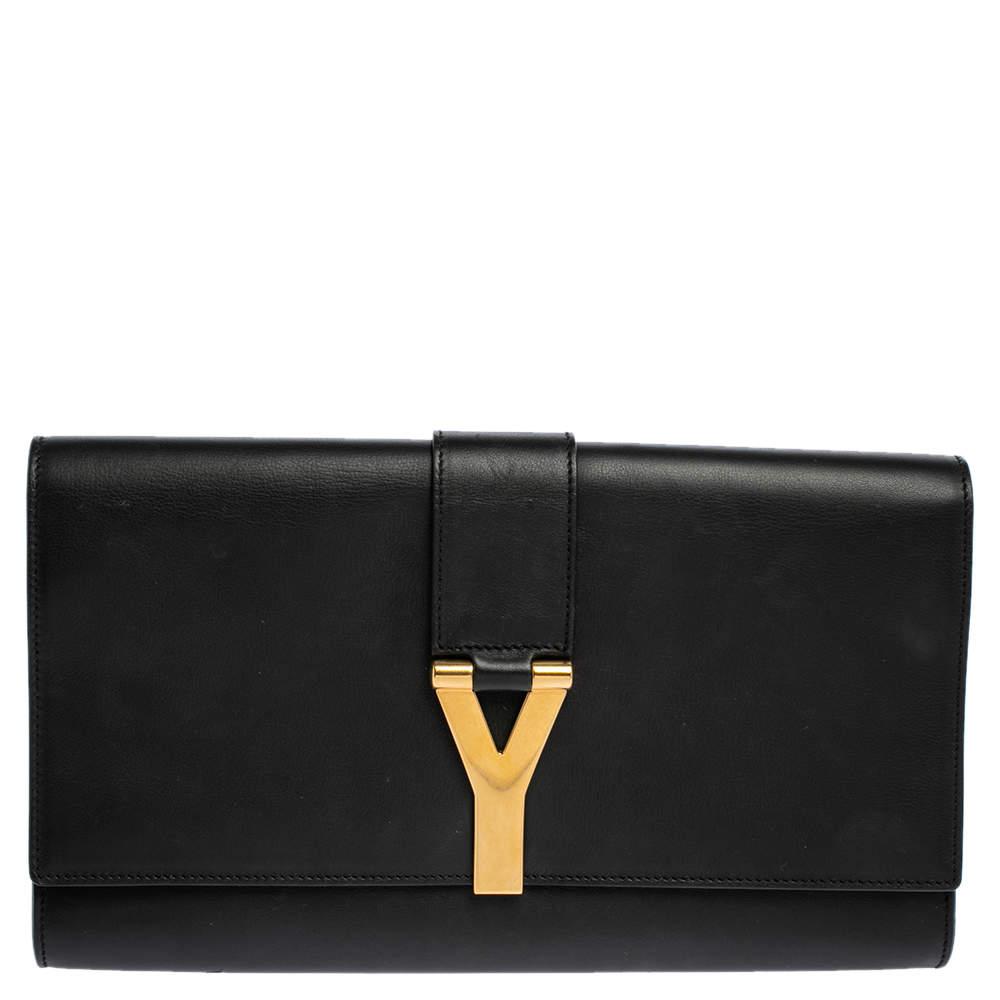 Saint Laurent Black Leather Y-Ligne Clutch