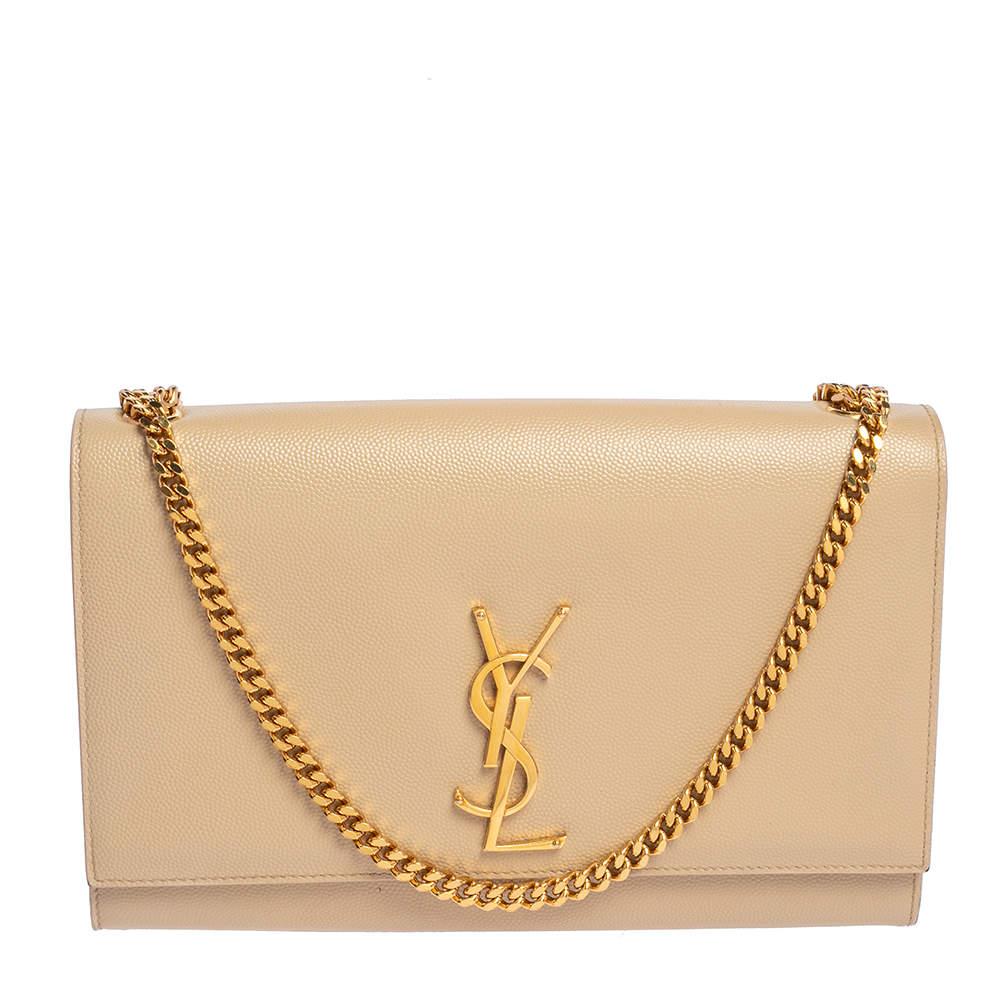 Saint Laurent Beige Leather Medium Kate Shoulder Bag
