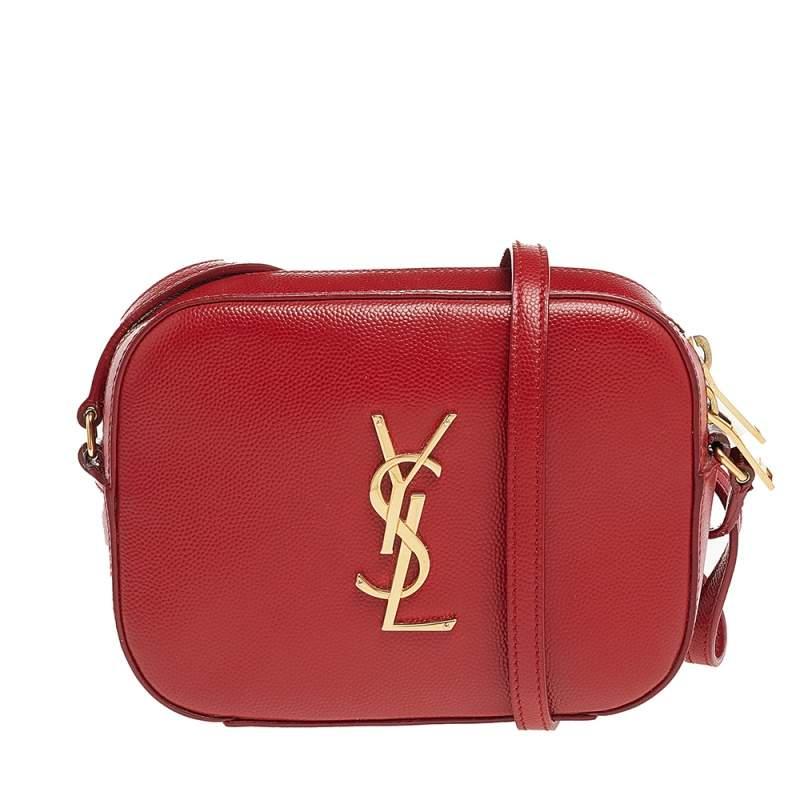 Saint Laurent Red Leather Camera De Poudre Crossbody Bag