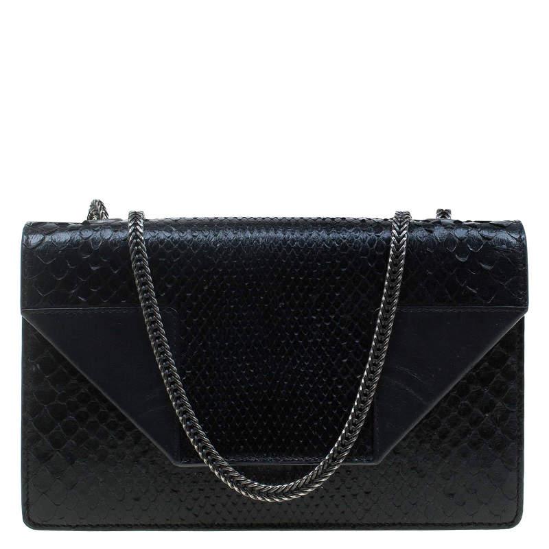 Saint Laurent Paris Black Python Betty Shoulder Bag