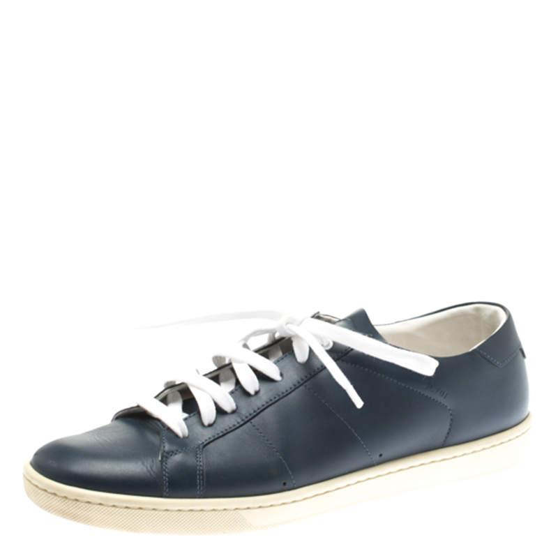 Saint Laurent Paris Blue Leather Low Top Sneakers Size 39