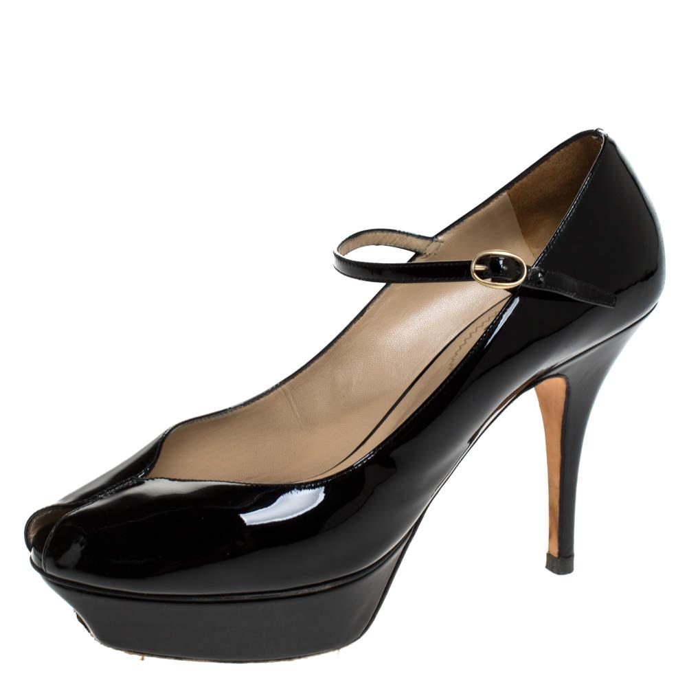 Saint Laurent Paris Black Patent Tribute Mary Jane Pumps Size 39