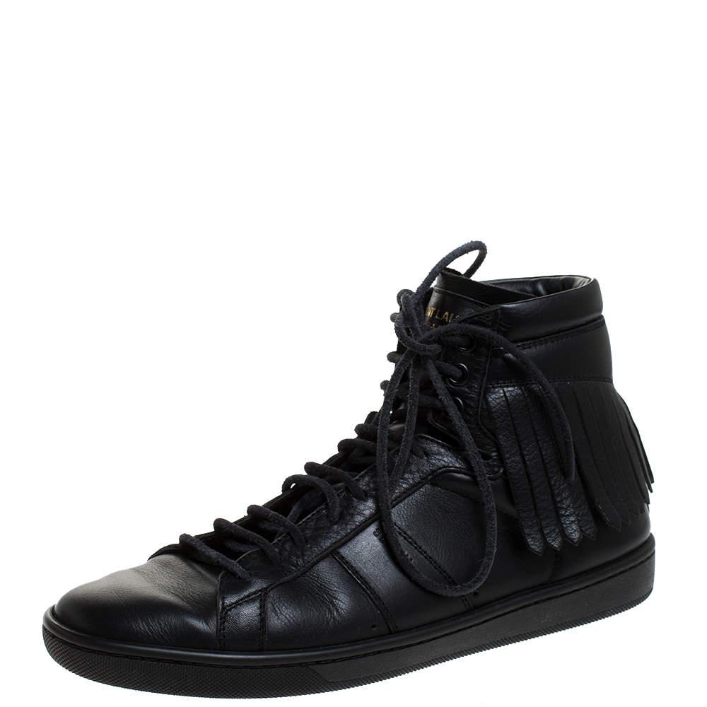 Saint Laurent Paris Black Leather Court Fringe Sneakers Size 37