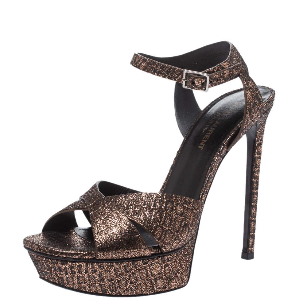 Saint Laurent Paris Bronze/Black Croc Embossed Cross Strap Platform Sandals Size 38.5