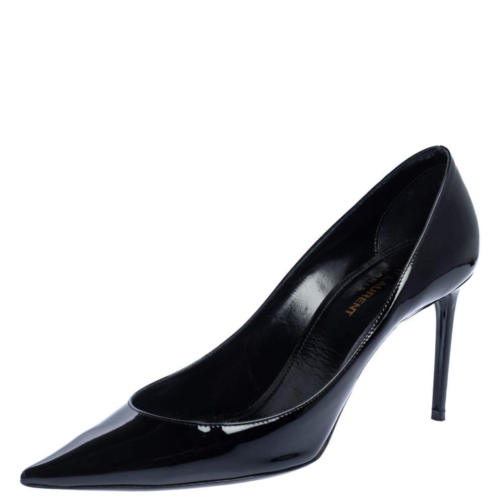 Saint Laurent Paris Black Pantet Leather Zoe Pointed Toe Pumps Size 39