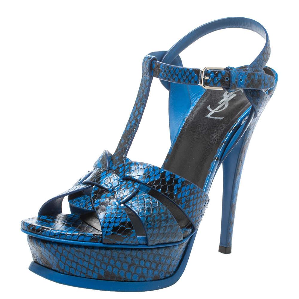 Saint Laurent Paris Blue/Black Python Effect Leather Tribute Platform Sandals Size 38.5