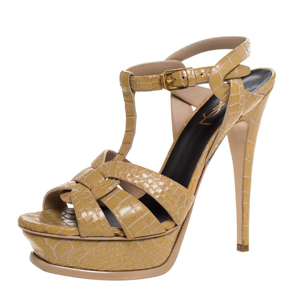 Saint Laurent Paris Beige Croc Embossed Leather Tribute Sandals Size 38