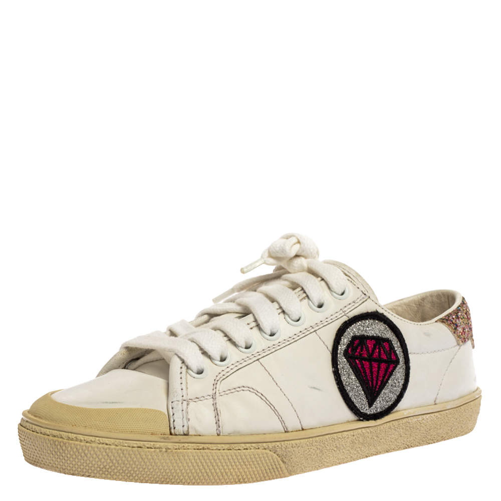 Saint Laurent Paris White Leather And Glitter Trim Court Classic SL/37 Diamond Patch Low Top Sneakers Size 35
