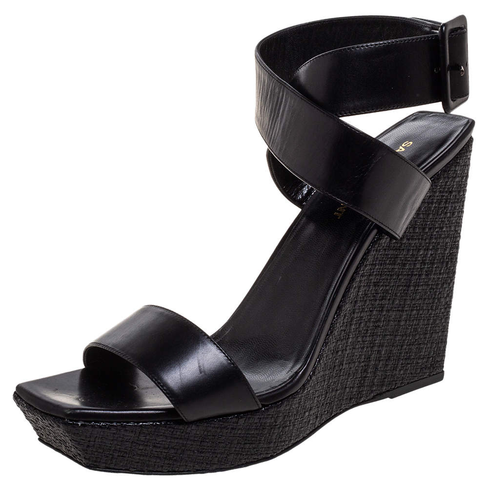 Saint Laurent Paris Black Leather Ankle Strap Wedge Platform Sandals Size 40.5