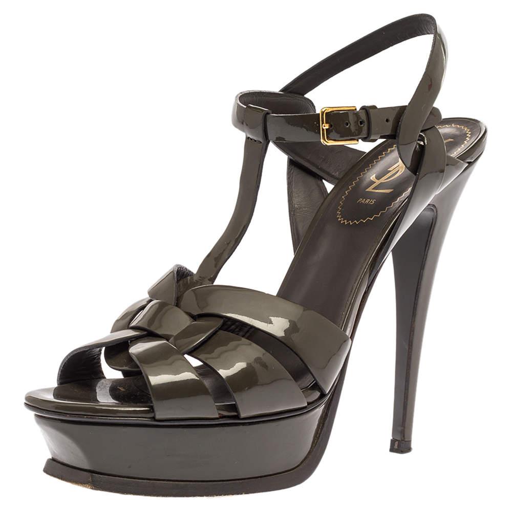 Saint Laurent Paris Grey Patent Leather Tribute Platform Ankle Strap Sandals Size 40