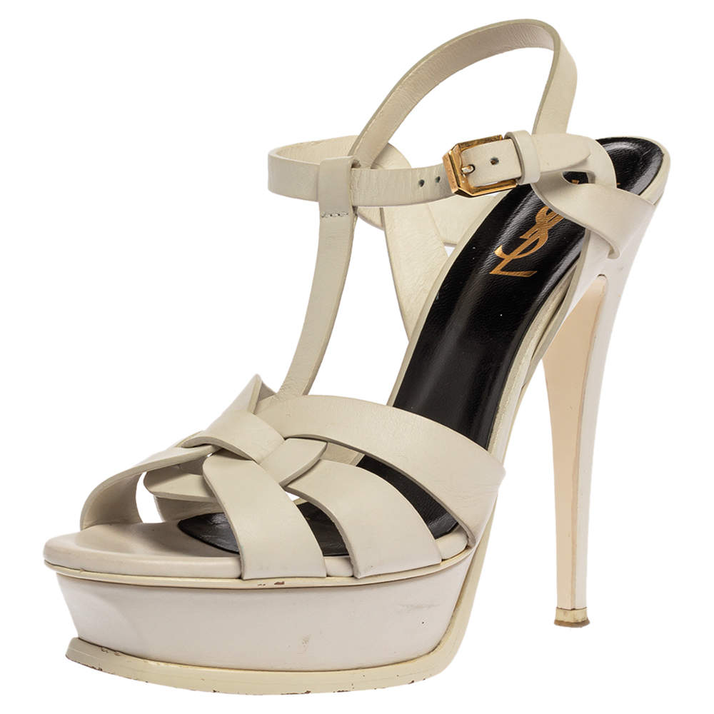 Saint Laurent White Leather Tribute Platfrom Sandals Size 38