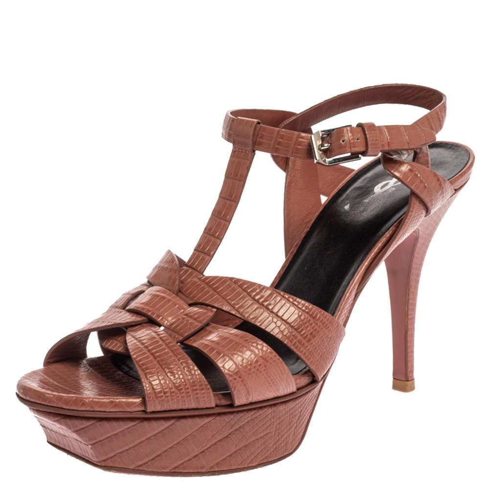 Saint Laurent Paris Brown Lizard Embossed Leather Tribute Platform Sandals Size 38