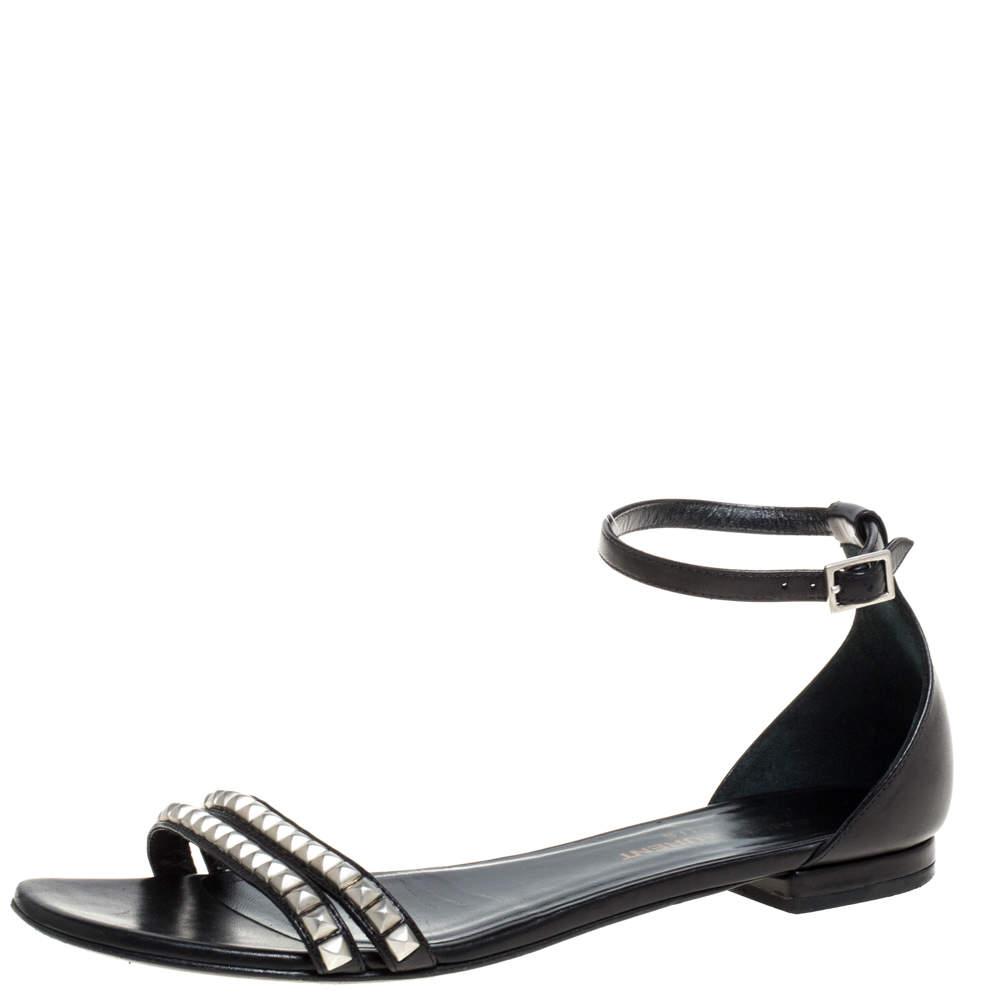 Saint Laurent Paris Black Leather Studded Ankle Strap Flats Size 36