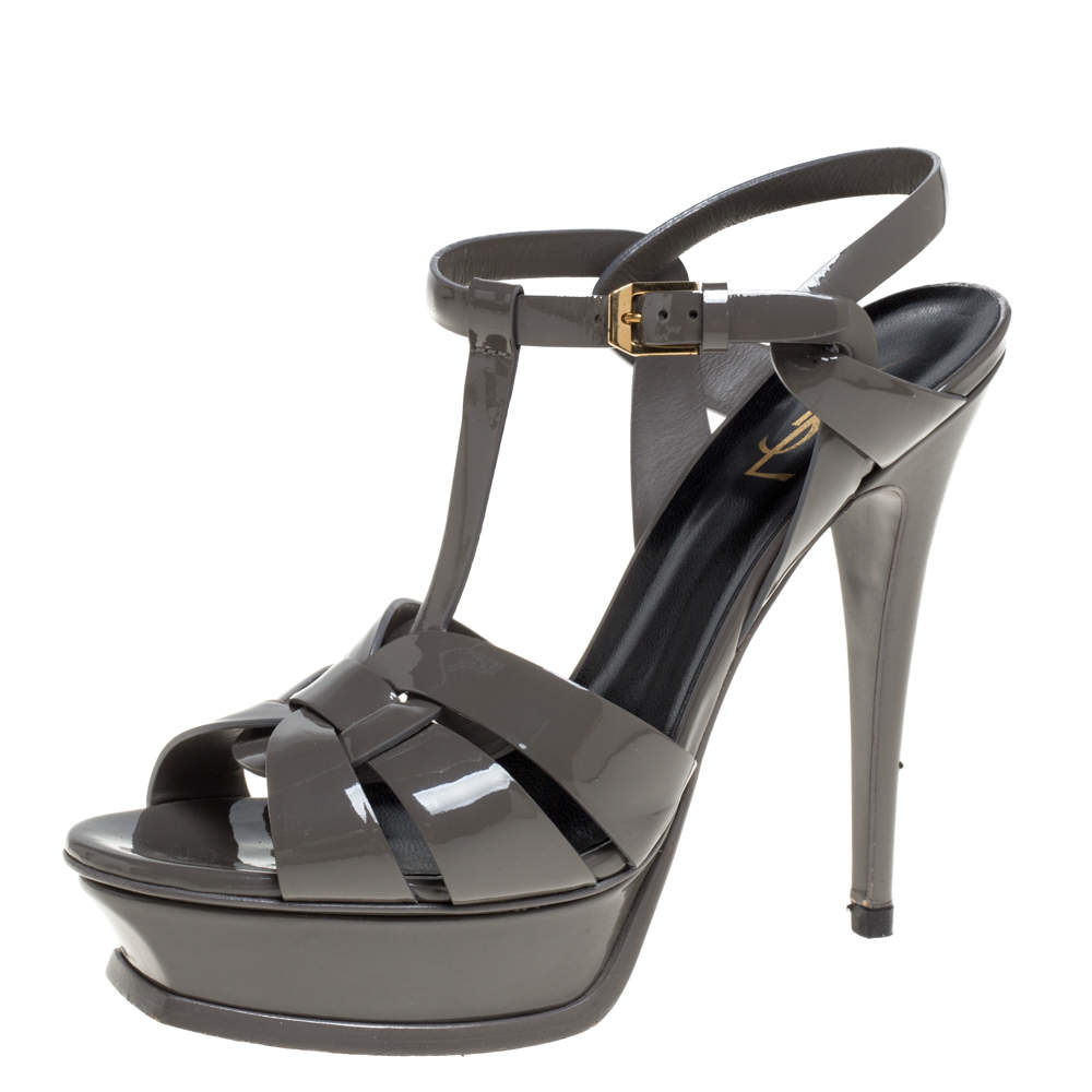 Saint Laurent Paris Grey Patent Leather Tribute Platform Sandals Size 39.5