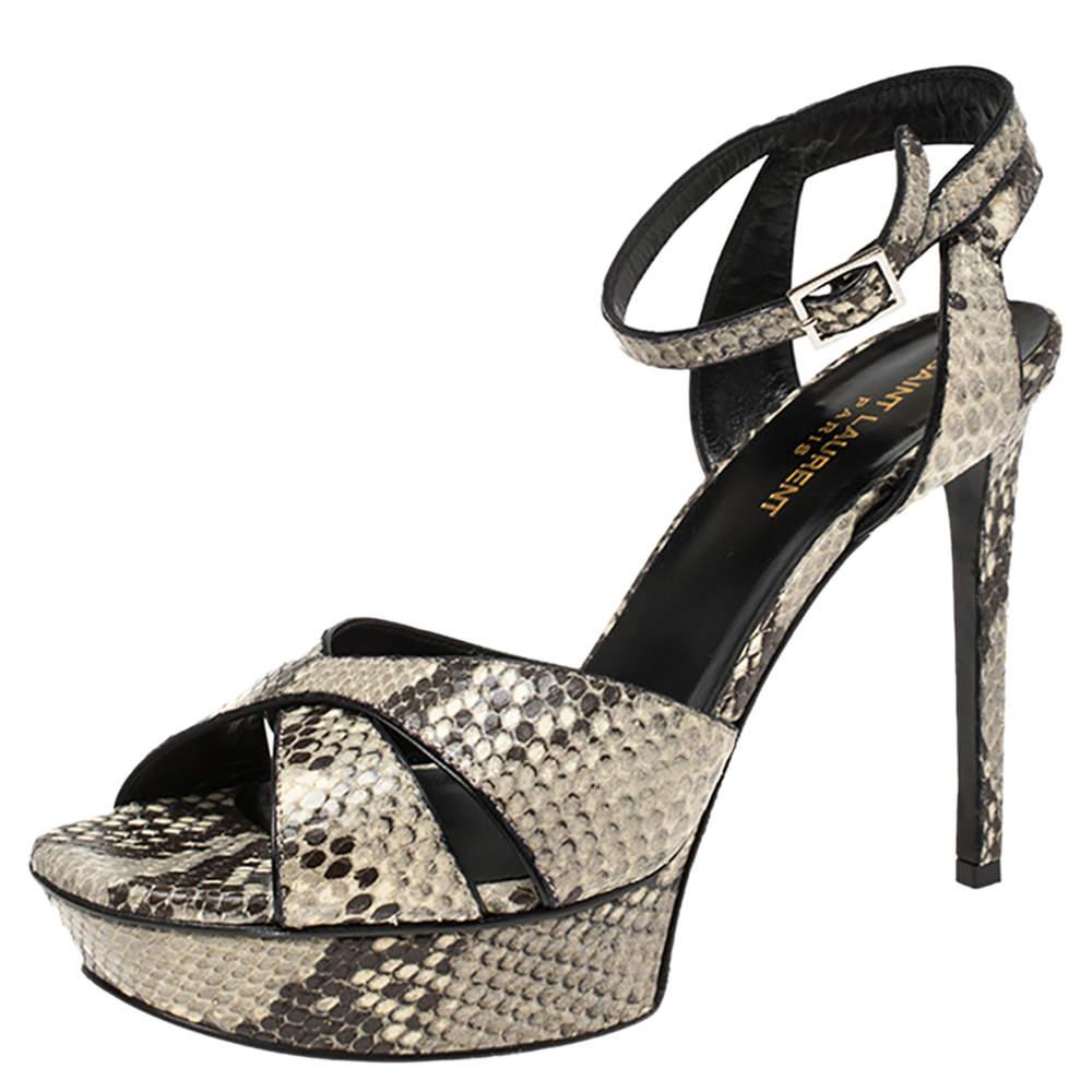Saint Laurent Paris Grey/Black Python Embossed Leather Bianca Platform Sandals Size 39