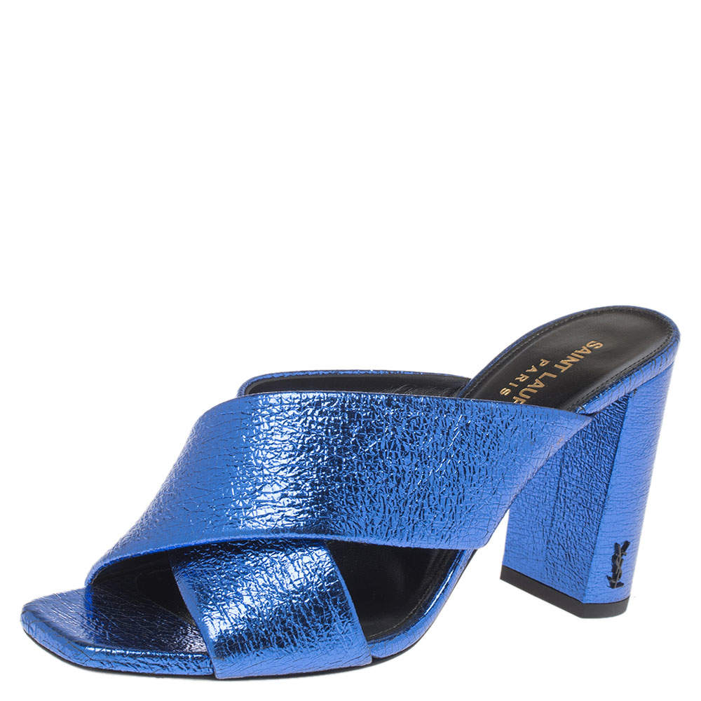 Saint Laurent Paris Metallic Blue Foil Leather Loulou Cross Strap Mules Size 37