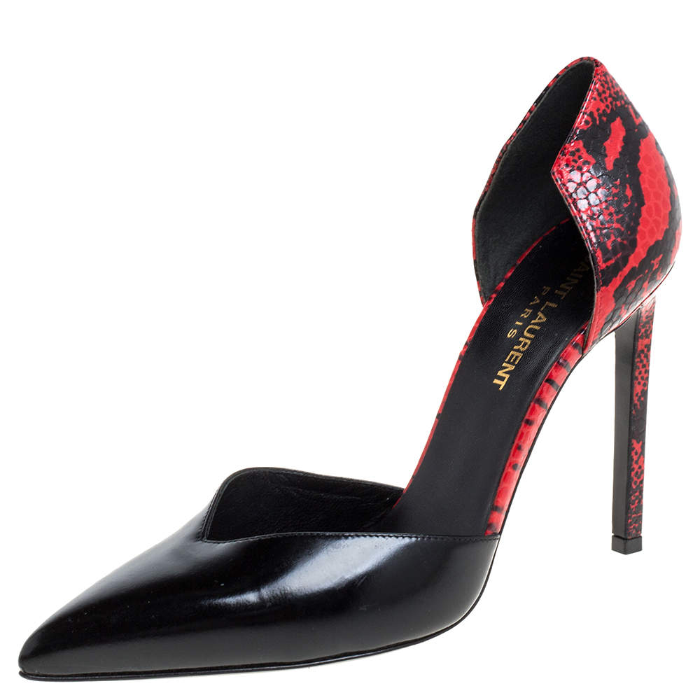 Saint Laurent Paris Black/Red Textured Leather D'orsay Pumps Size 37