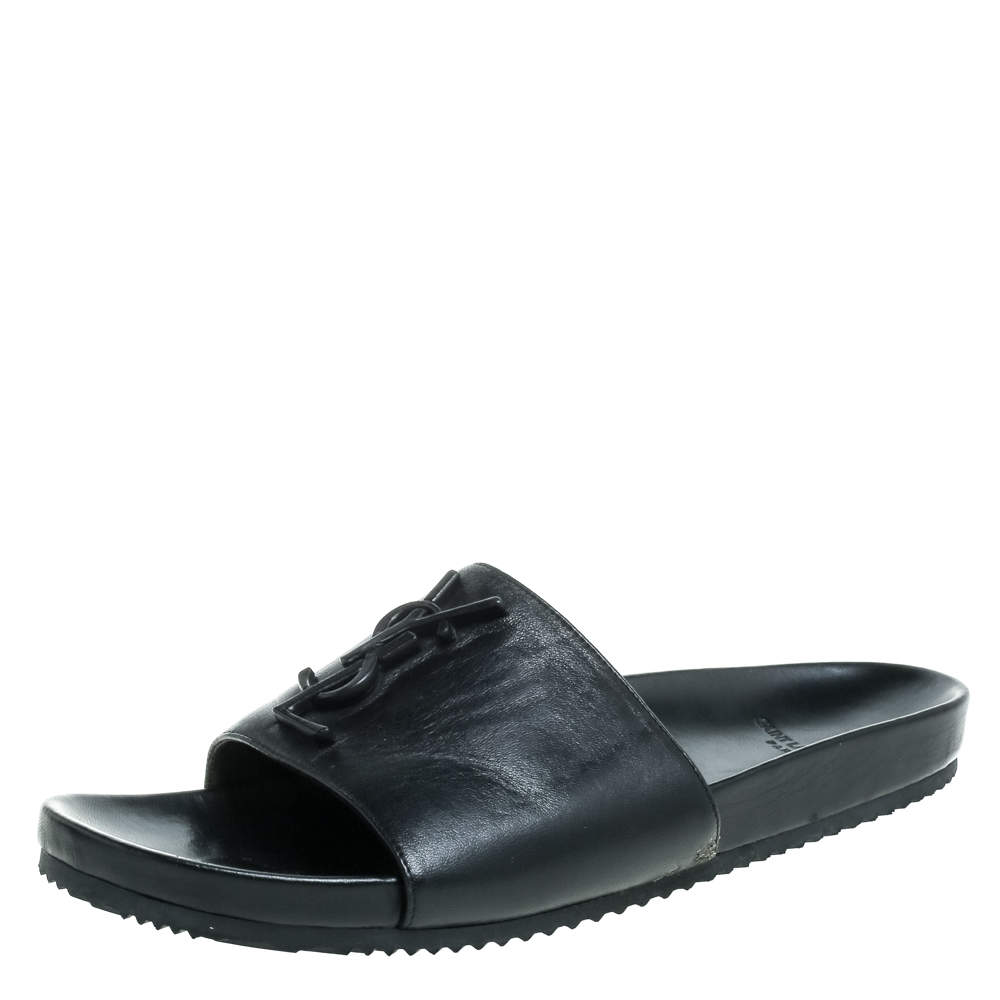 Saint Laurent Paris Black Leather Logo Slide Sandals Size 39