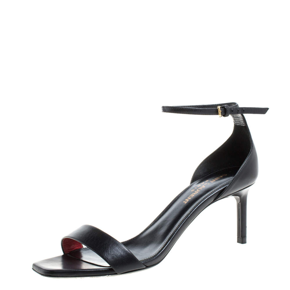 Saint Laurent Black Leather Amber Ankle Strap Sandals Size 36