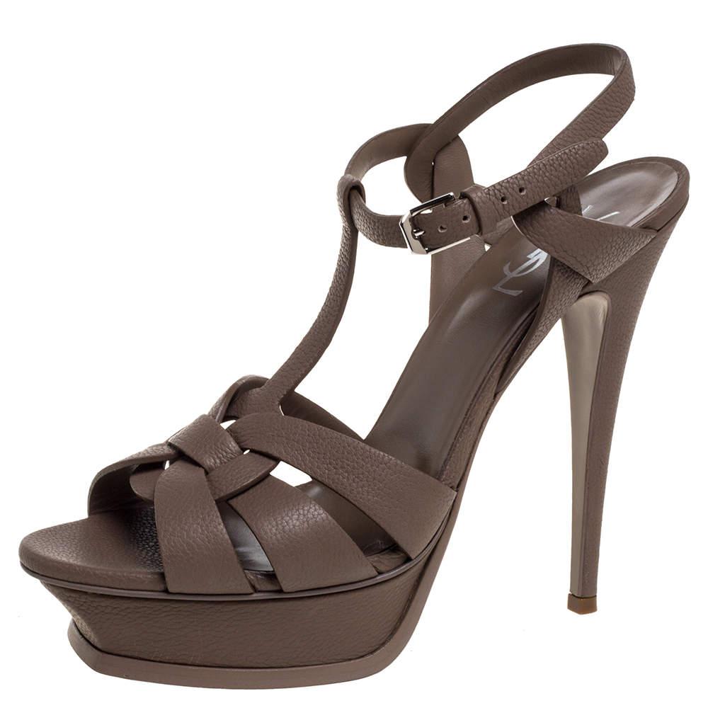Saint Laurent Brown Grained Leather Tribute Platform Sandals Size 41