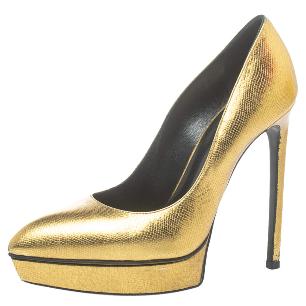 Saint Laurent Paris Metallic Gold Leather Janis Pointed Toe Platform Pumps Size 38