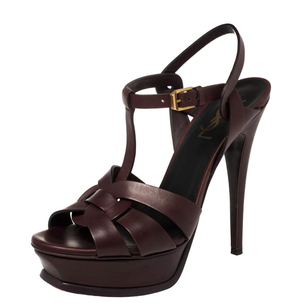 Saint Laurent Paris Burgundy Leather Tribute Sandals Size 37.5
