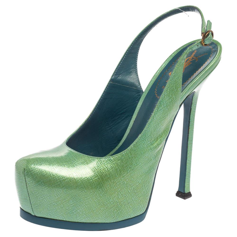 Saint Laurent Mint Patent Leather Tribtoo Platform Slingback Sandals Size 39