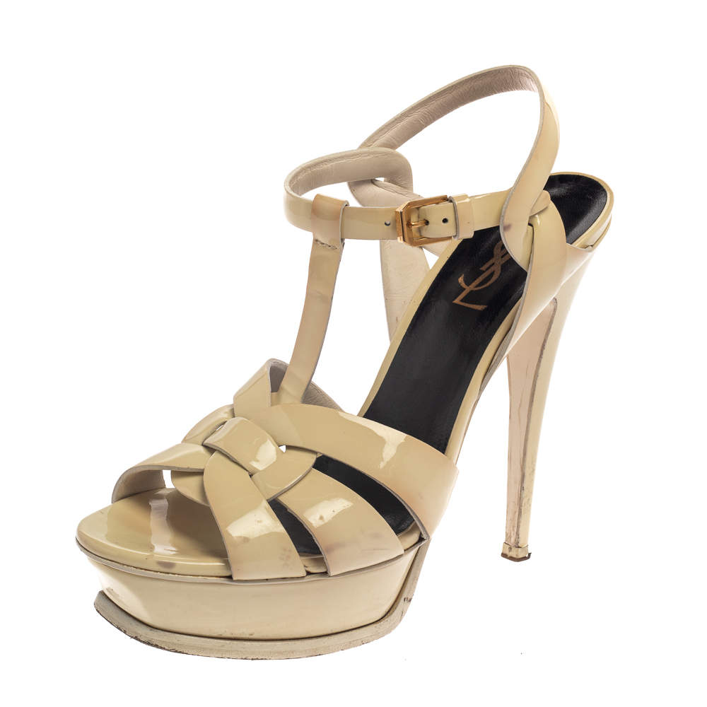 Saint Laurent Cream Patent Leather Tribute Sandals Size 37.5