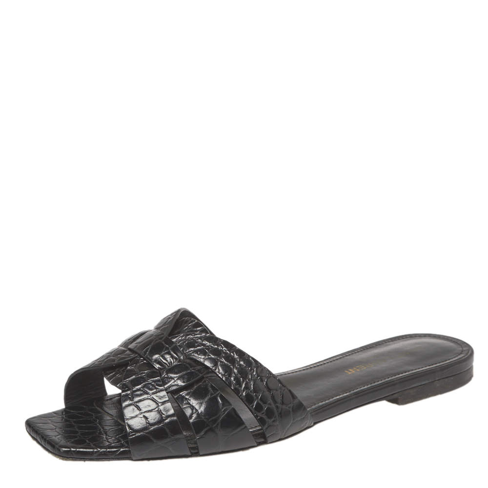 Saint Laurent Black Croc Embossed Leather Tribute Flat Slides Size 38