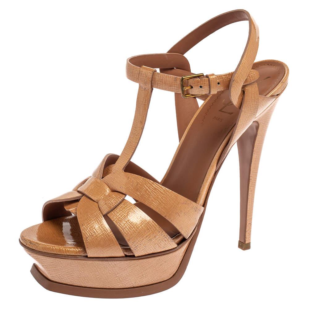 Saint Laurent Beige Patent Textured Leather Tribute Platform Sandals Size 39
