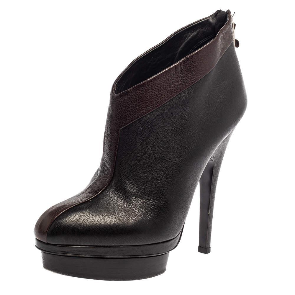 Saint Laurent Paris Brown/Black Leather Platform Ankle Boots Size 38.5