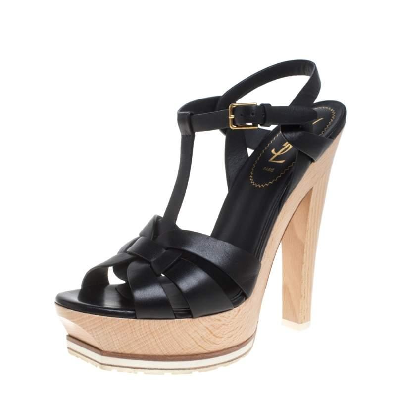 Saint Laurent Paris Leather Tribute Wooden Platform Ankle Strap Sandals Size 38.5