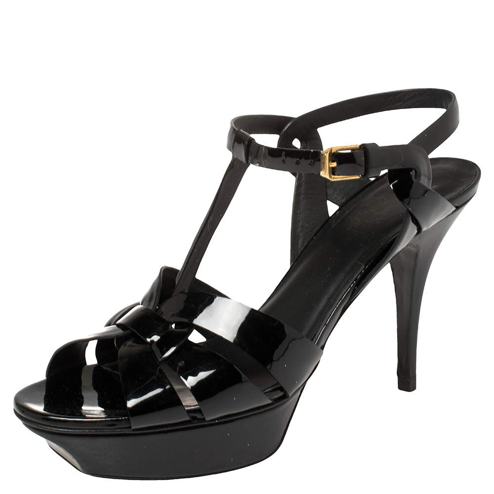 Saint Laurent  Black Patent Leather Tribute Sandals Size 40