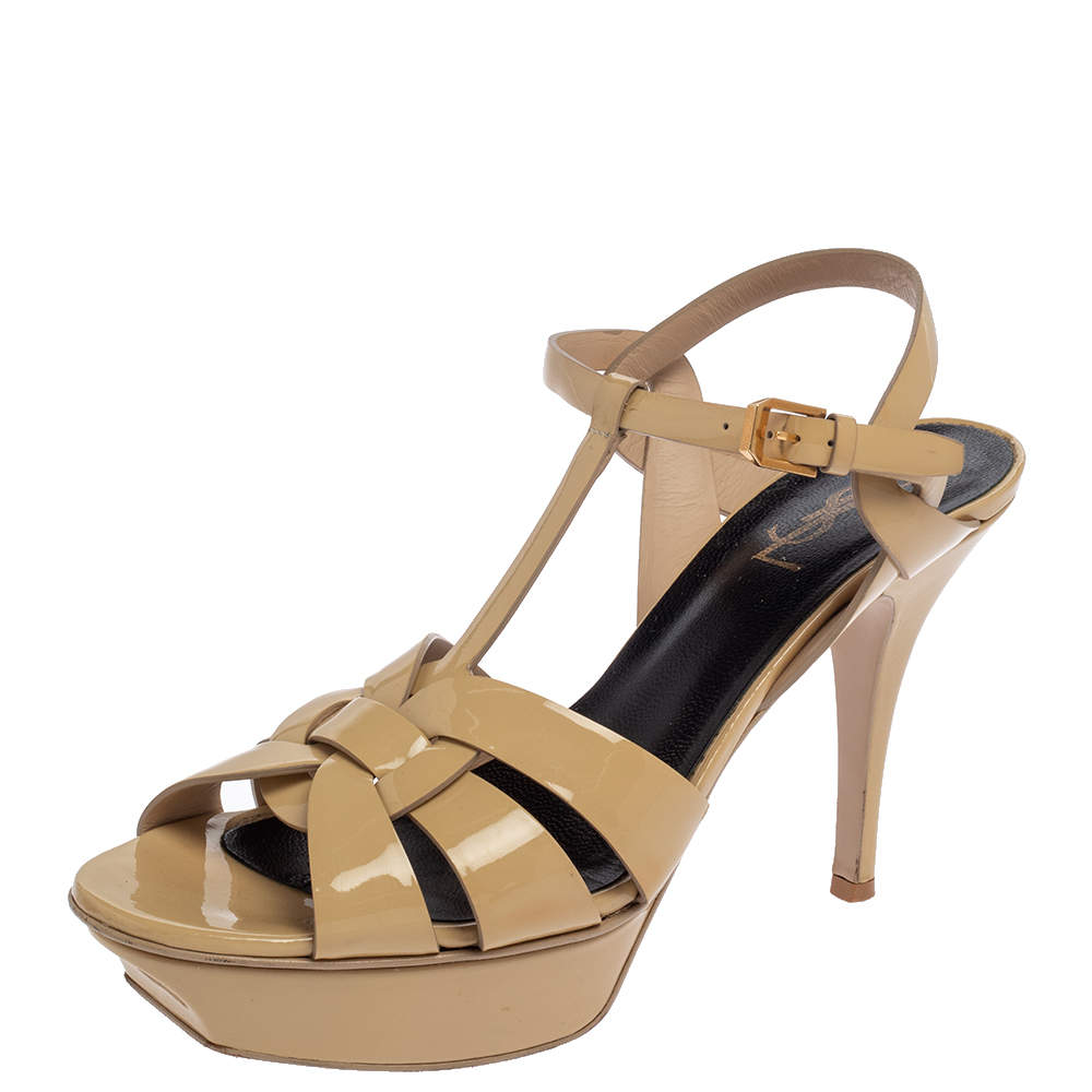 Saint Laurent  Beige Patent Leather Tribute  Sandals Size 40