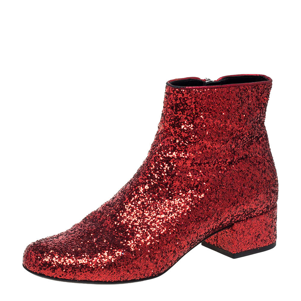 Saint Laurent Red Glitter Caleb Zippered Ankle Boots Size 37.5