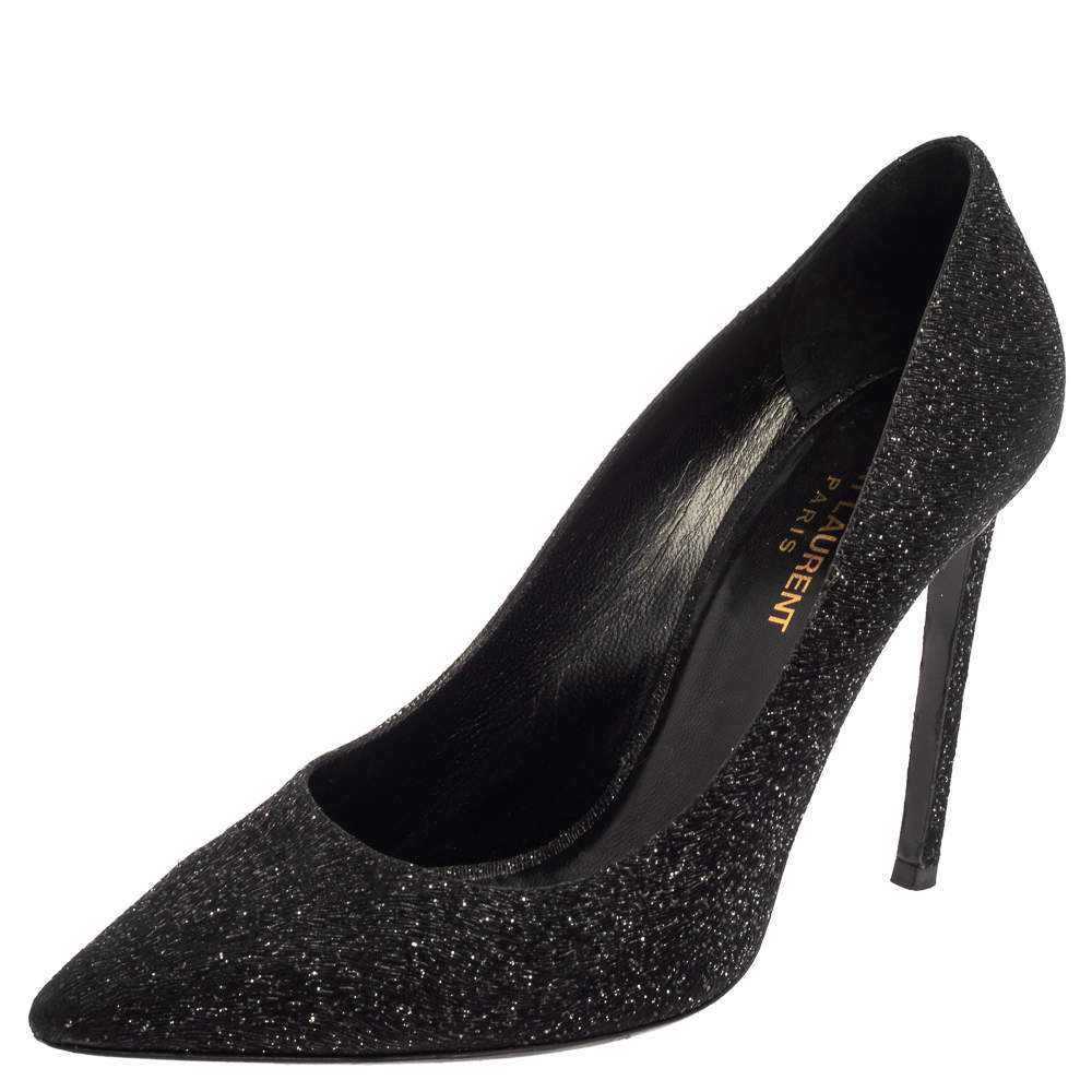 Saint Laurent Black  Glitter And Suede Pointed Toe  Pumps Size 39.5