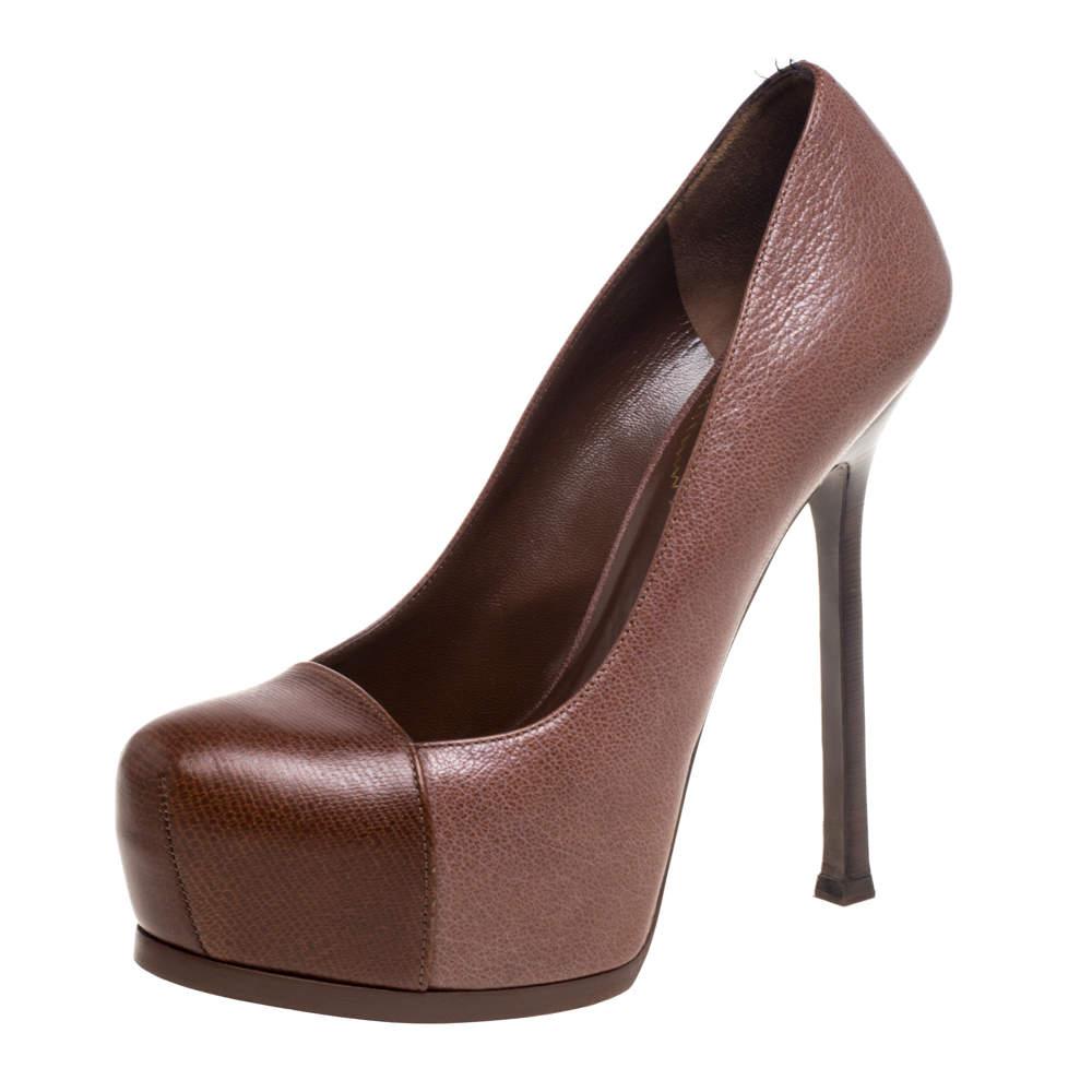 حذاء كعب عالي سان لوران باريس تريبتو جلد بني مقاس 38.5