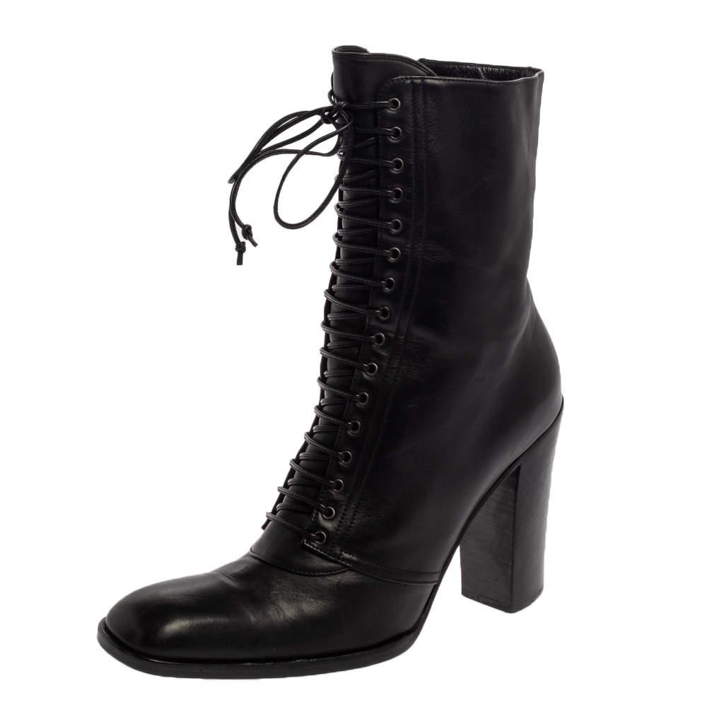 Saint Laurent  Black Leather Zipper Detail  Boots Size 37