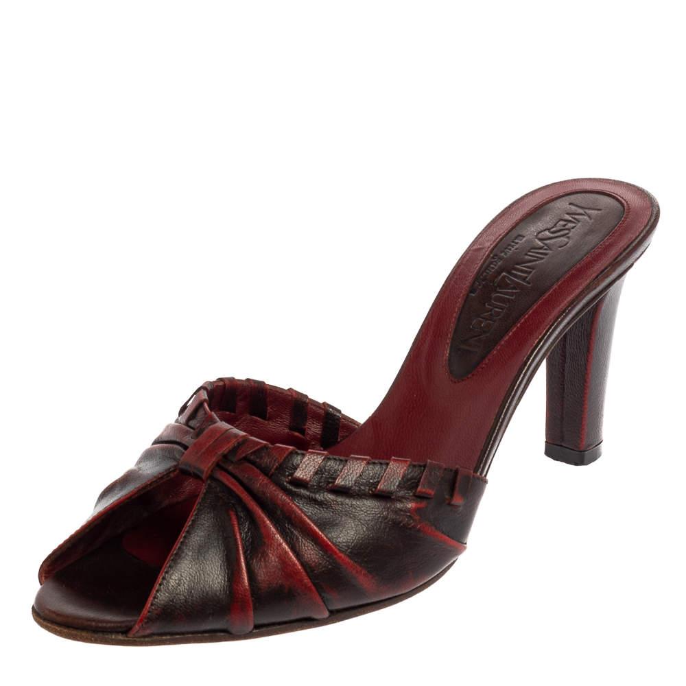 Saint Laurent Vintage Two Tone Leather Open Toe Slide Sandals Size 36.5
