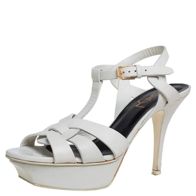 Saint Laurent White Leather Tribute Platform Ankle Strap Sandals Size 36