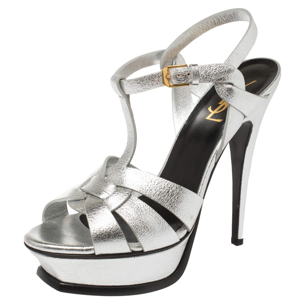 Saint Laurent Sliver Leather Tribute Sandals Size 38