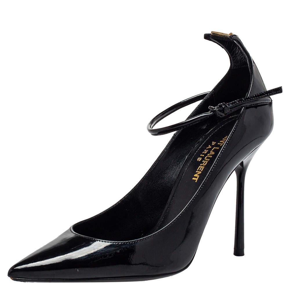 Saint Laurent Black Patent Leather Ankle Strap Pumps Size 35