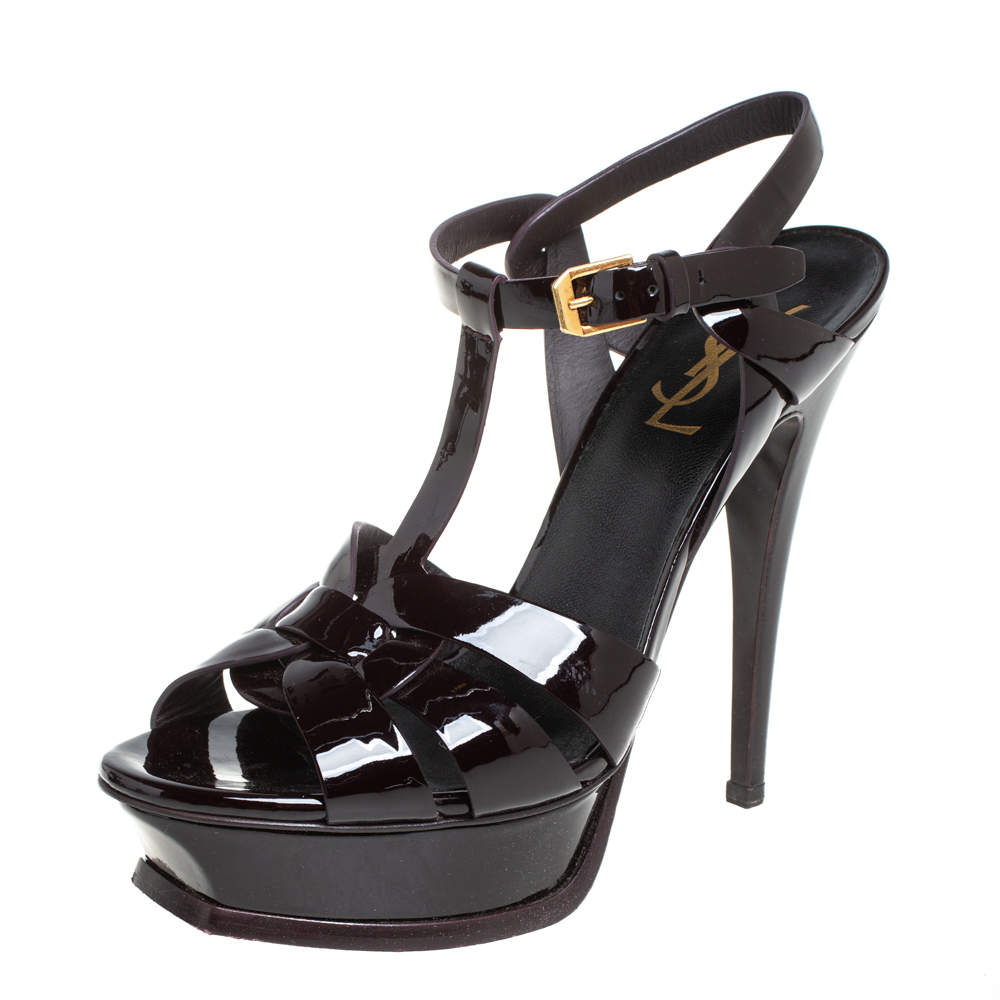 Saint Laurent Burgundy Patent Leather Tribute Sandals Size 37.5