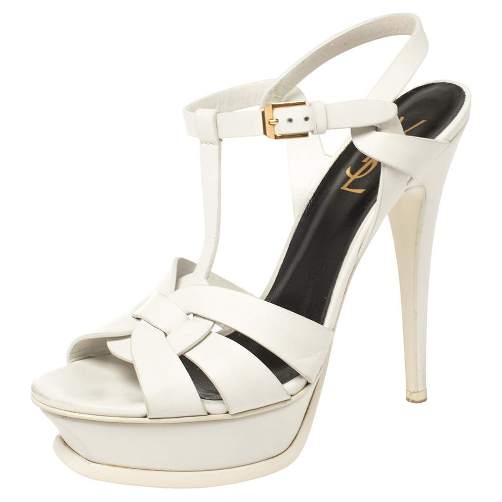 Saint Laurent White Leather Tribute Platform Sandals Size 38.5