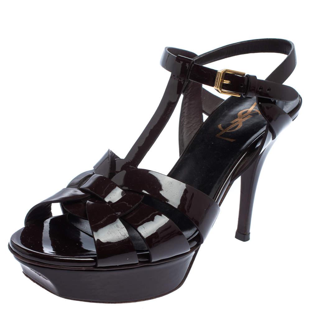 Saint Laurent Burgundy Patent Leather Tribute Platform Ankle Strap Sandals Size 37